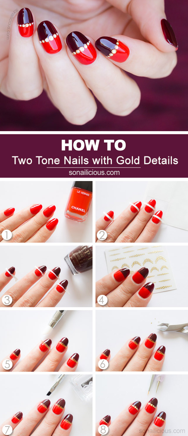 gold and red nail design how to