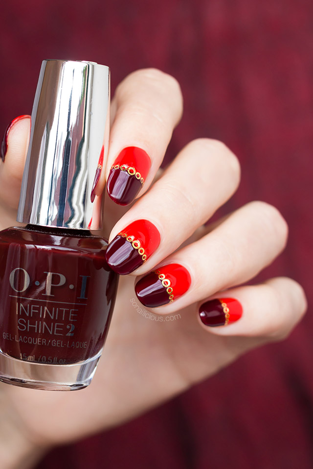 red nail design with opi nail polish