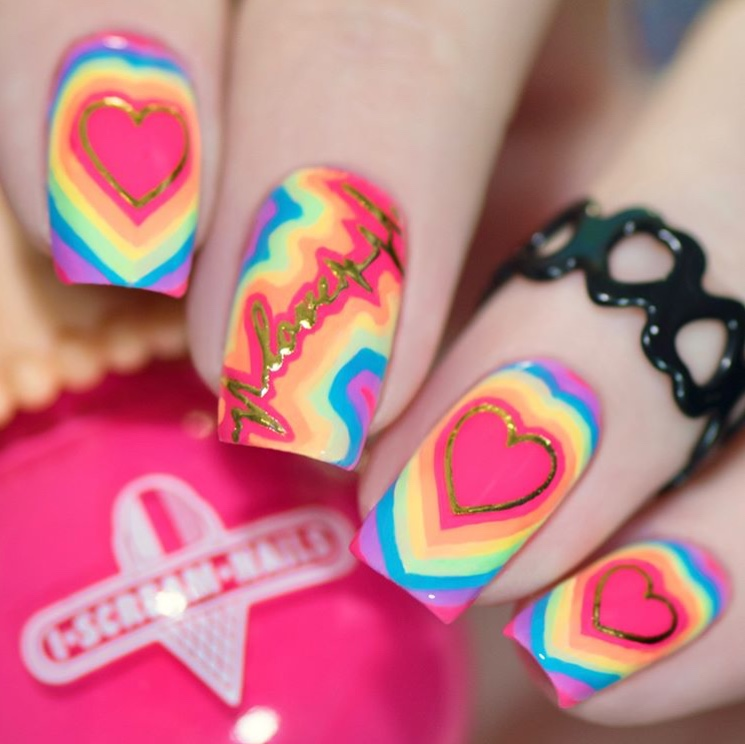 Love is Love nails with summer nail stickers