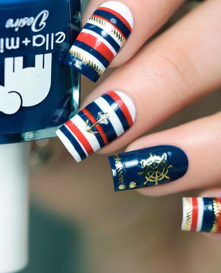 Nautical nails with anchor summer nail stickers