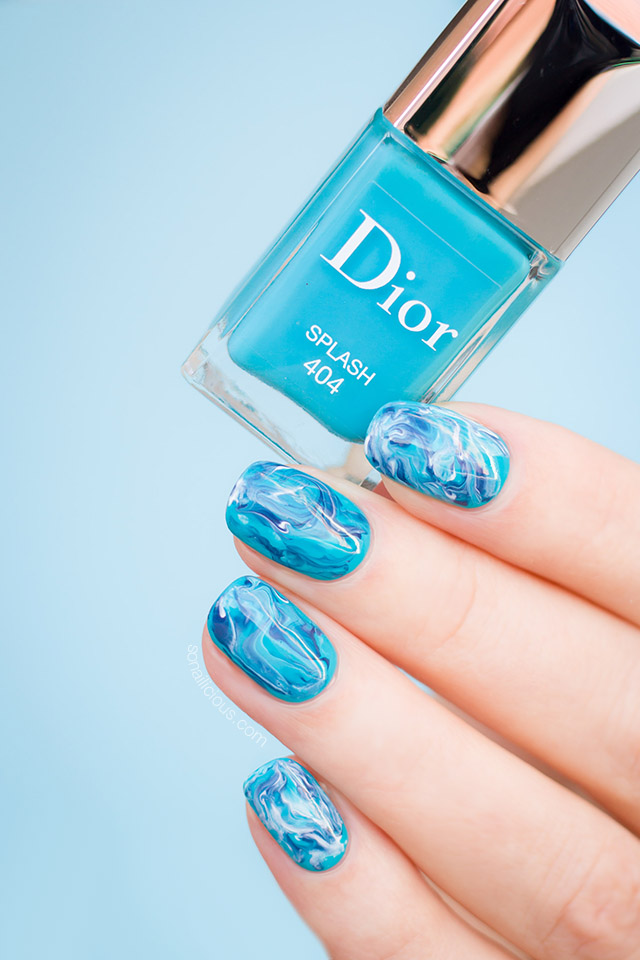 turquoise nails with dior nail polish