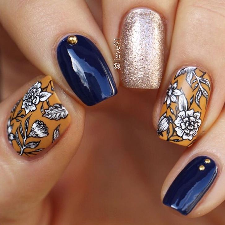 Floral Fall nail design