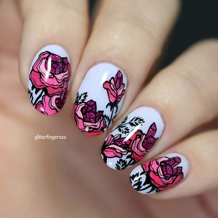 Beautiful nails with crystallised roses pattern
