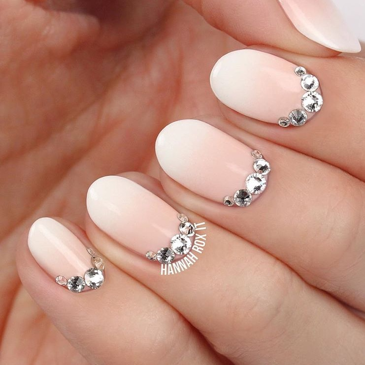 fall nails with rhinestones
