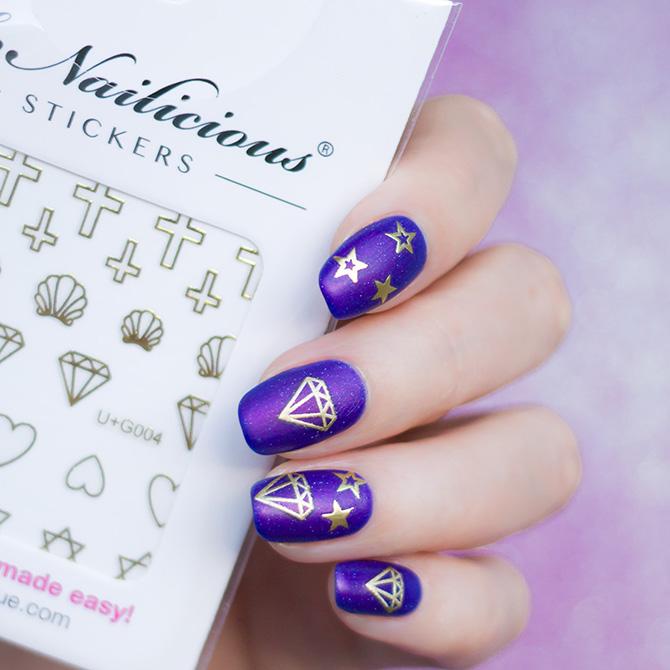 purple nails with diamonds
