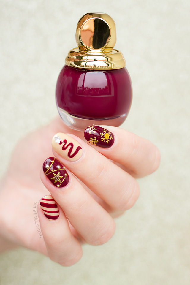 Christmas nail design with Diorific Audace