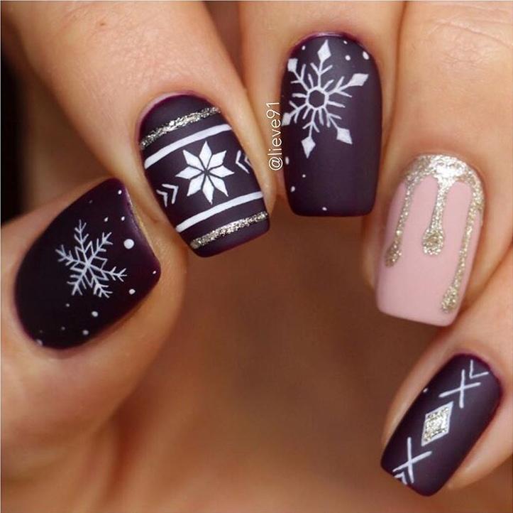 Dark red holiday nails