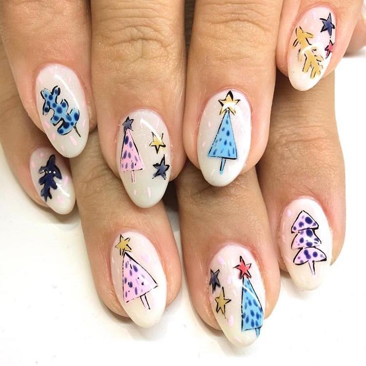 Abstract Holiday nails