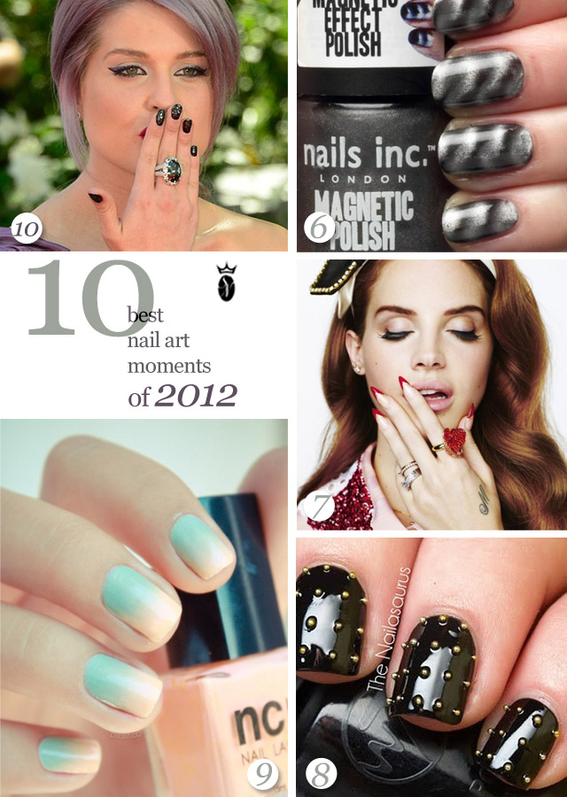 10 best nail art of 2012, kelly osbourne, lana del rey nails, ombre nails