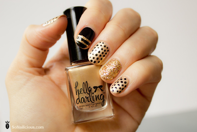 glitter polka dot nails