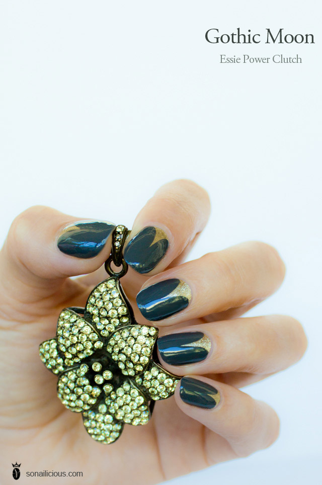 gold and black nails art