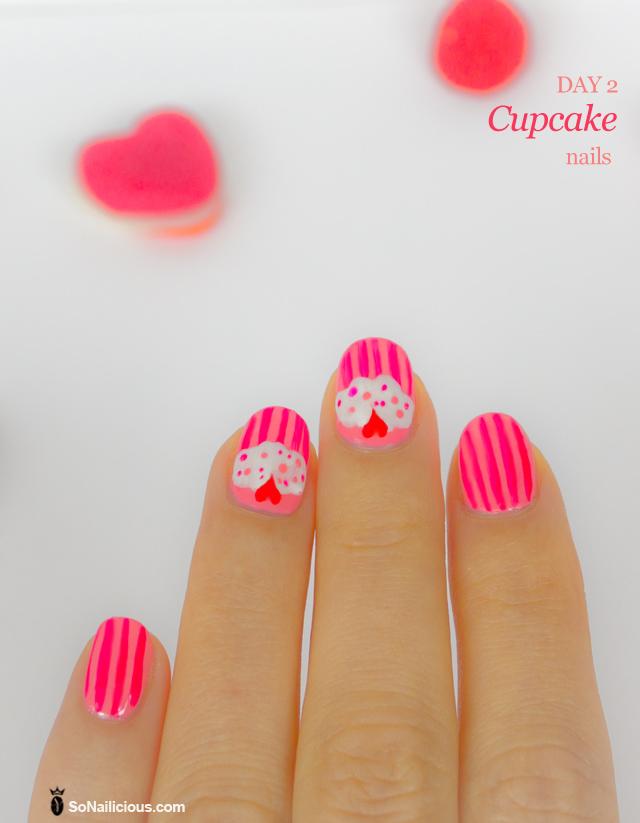 cupcake nails, pink nails
