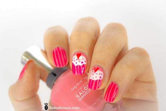 cupcake nails, sally hansen i pink i can