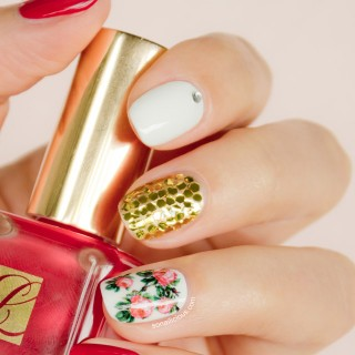 floral nails, estee lauder pure red