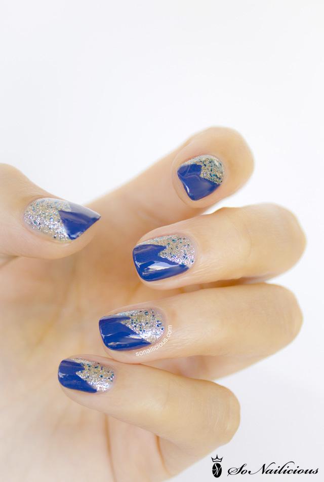 glitter nails, tape nail art 1