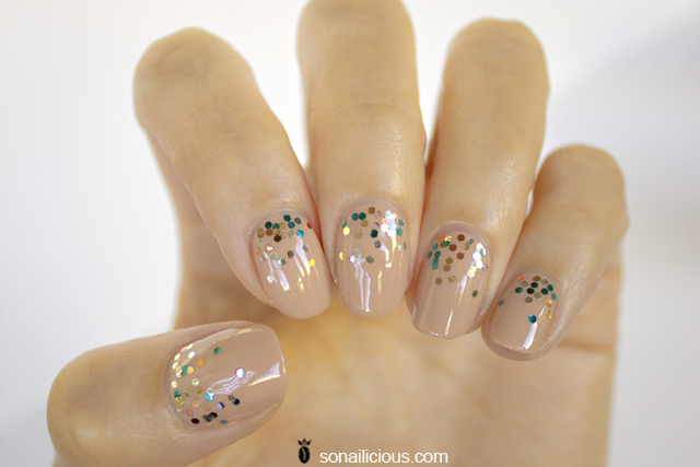Nude Nails With Gradient Glitter 28 Days Of Sonailicious Nails