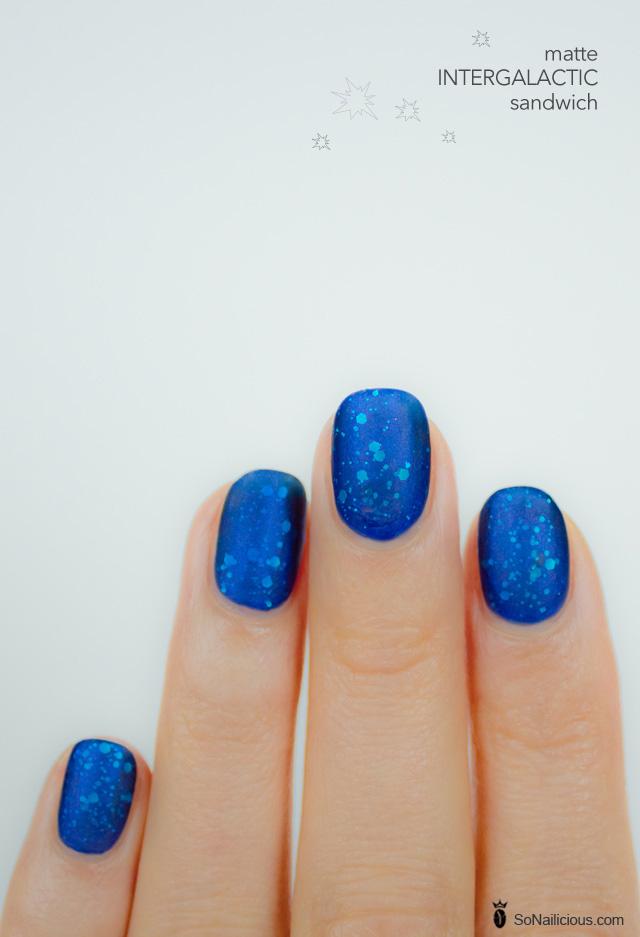 matte nails, blue glitter