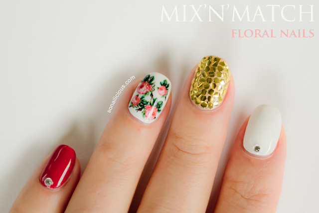 mix and match nail art, glitter nails