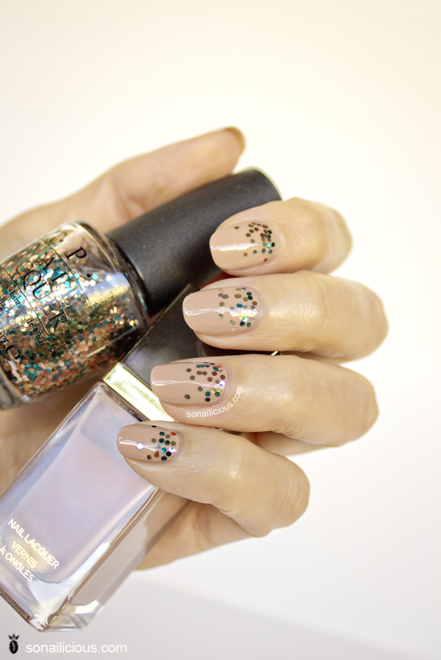 nude nails with glitter, tom ford, opi the living daylights
