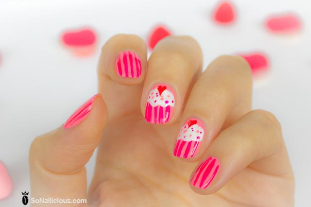 pink nails, cupcake nails