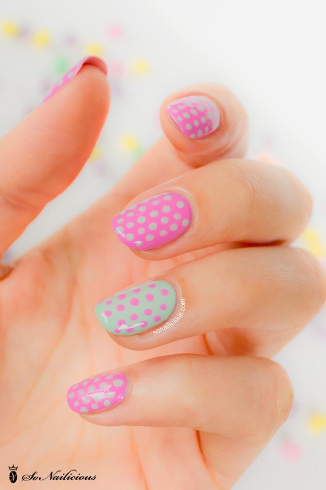 polka dot nails, polka dot nail art