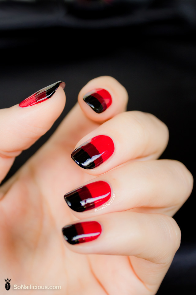 red nails, revlon, gradient nail art