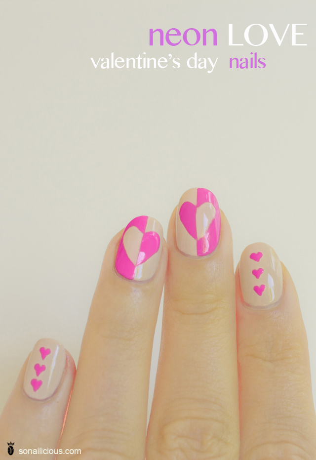 valentines day nails, neon nails copy