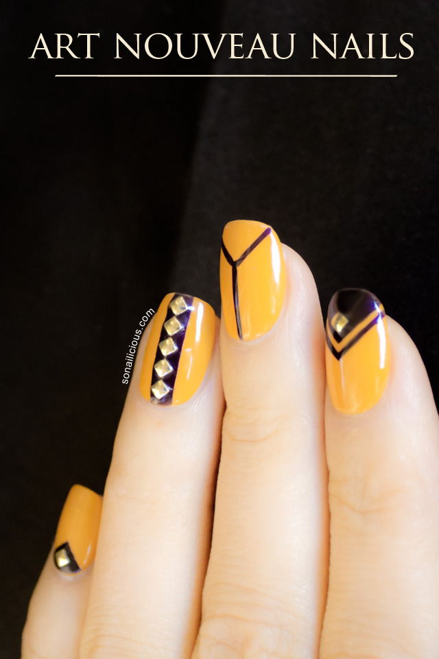 Art Nouveau nails, yellow nails