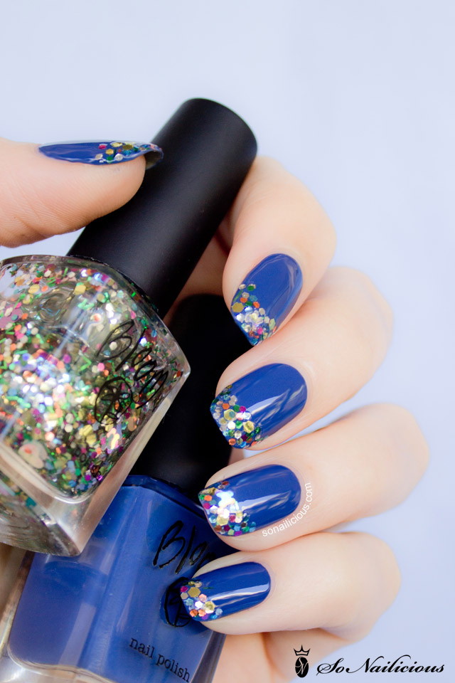 bloom cosmetics blue polish, glitter polish