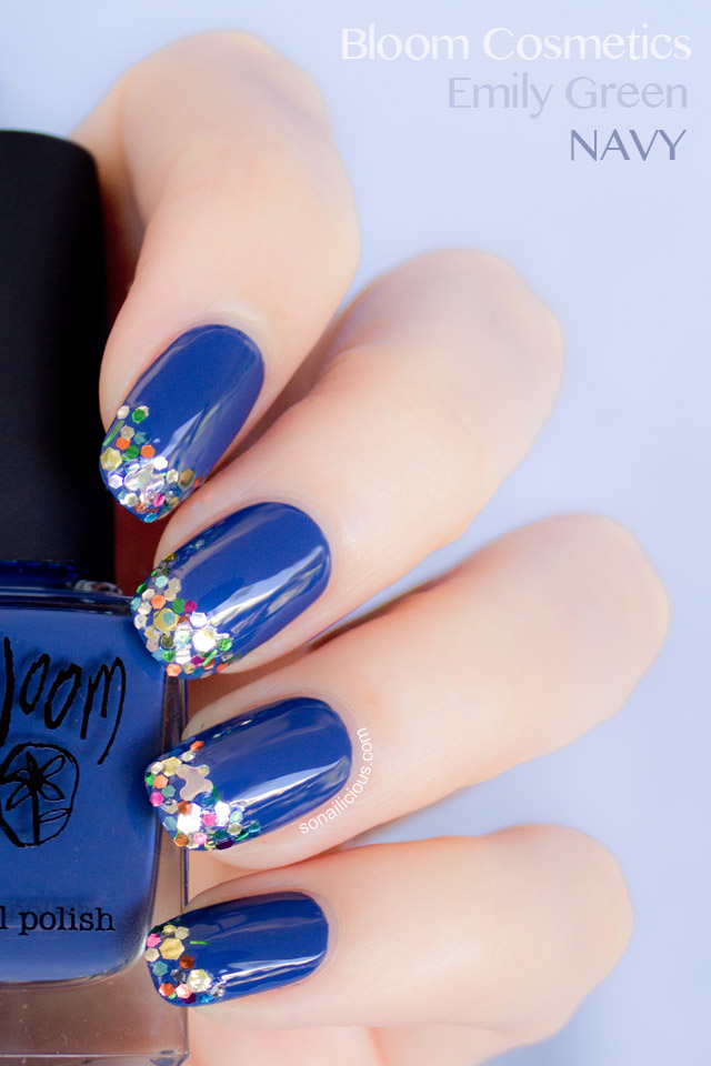 bloom cosmetics blue polish, navy polish