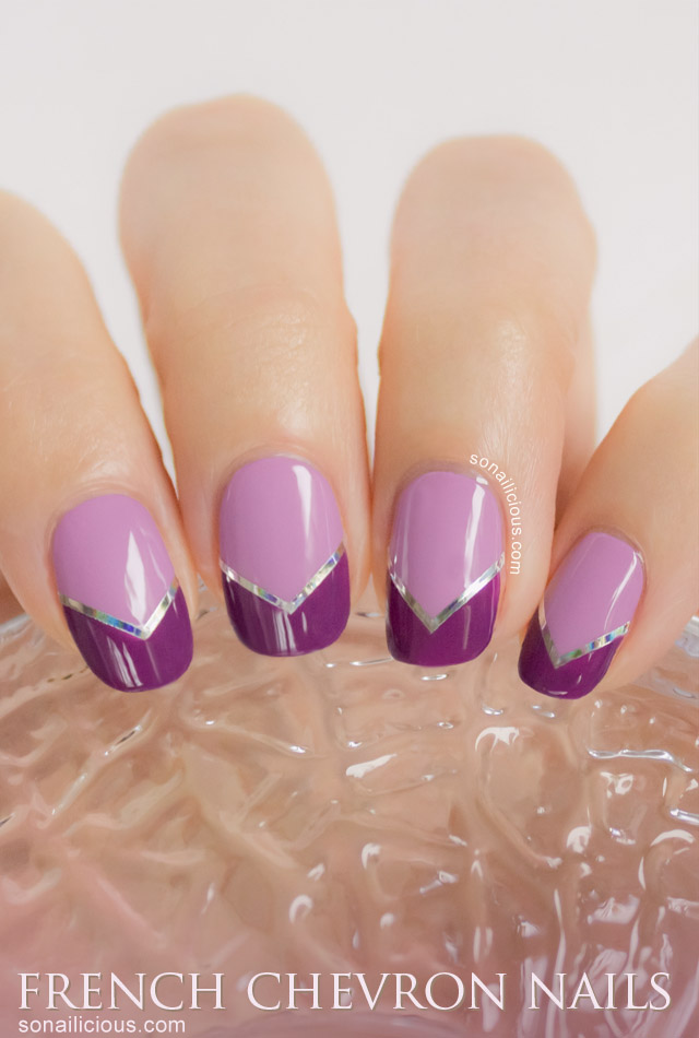 lilac chevron french nails