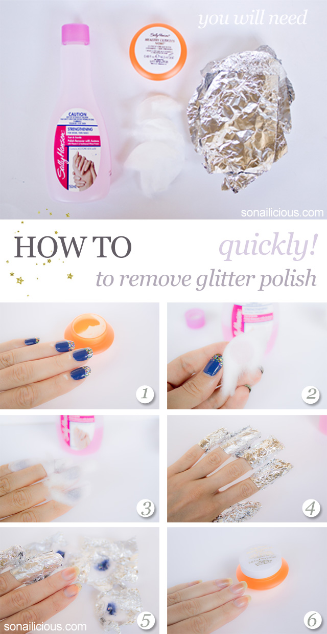 remove glitter polish quickly