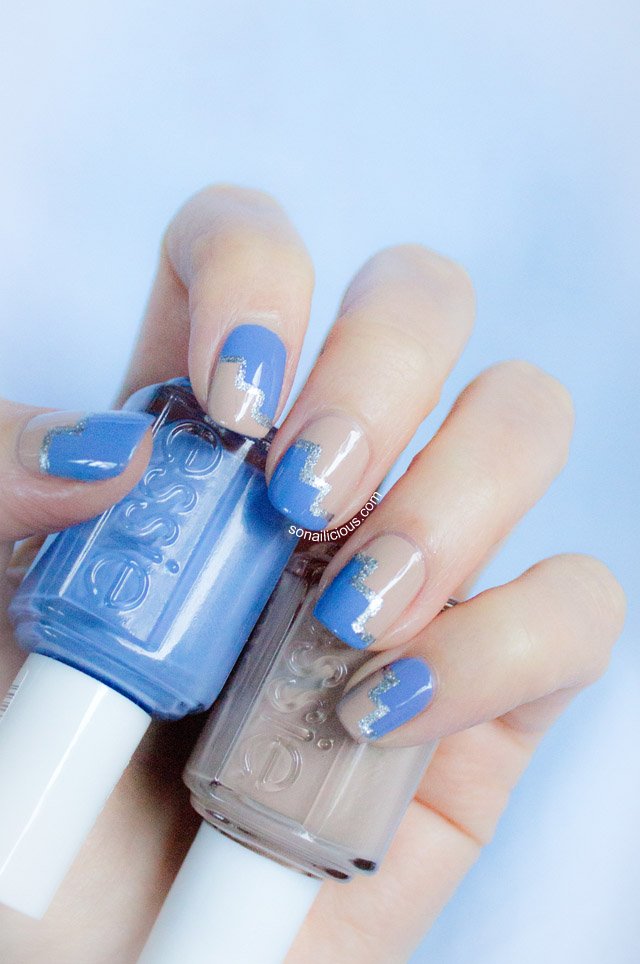 essie lapiz of luxury, striping tape nail art