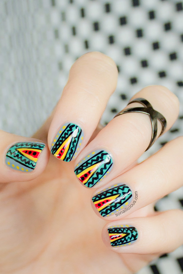 missoni nails, freehand nail art