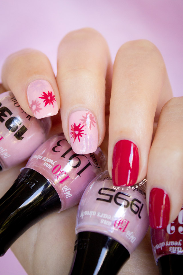 FLORAL RED NAIL DESIGN