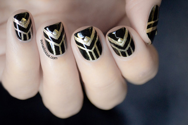 art deco nails, gatsby nails