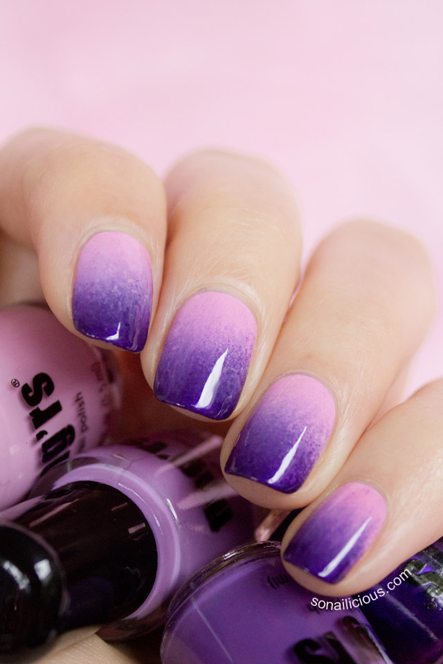 purple nails, ombre nails