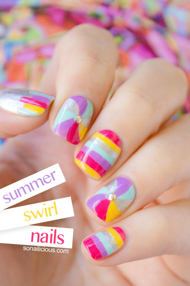 swirl nails, cute nails