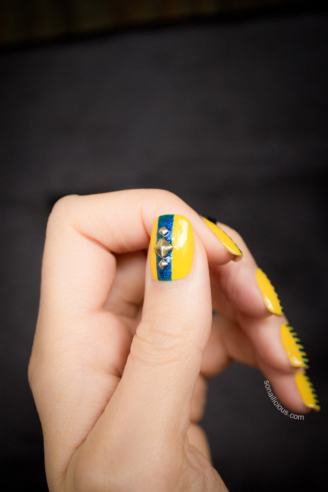 yellow and blue nails, studded nails