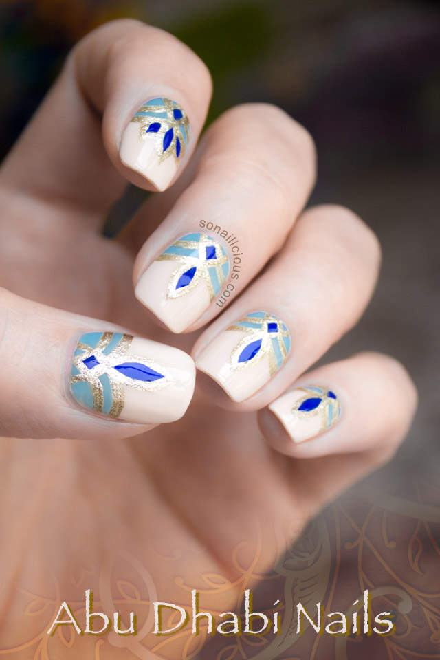 abu dhabi nails, blue and gold nails