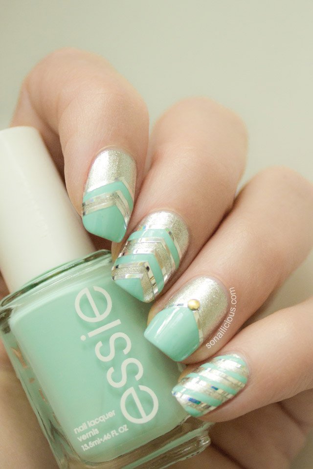 essie mint candy apple, mint nails 1