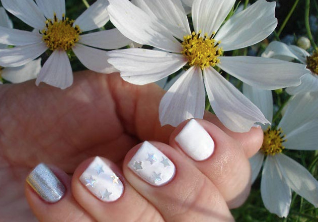 Silver and white nails