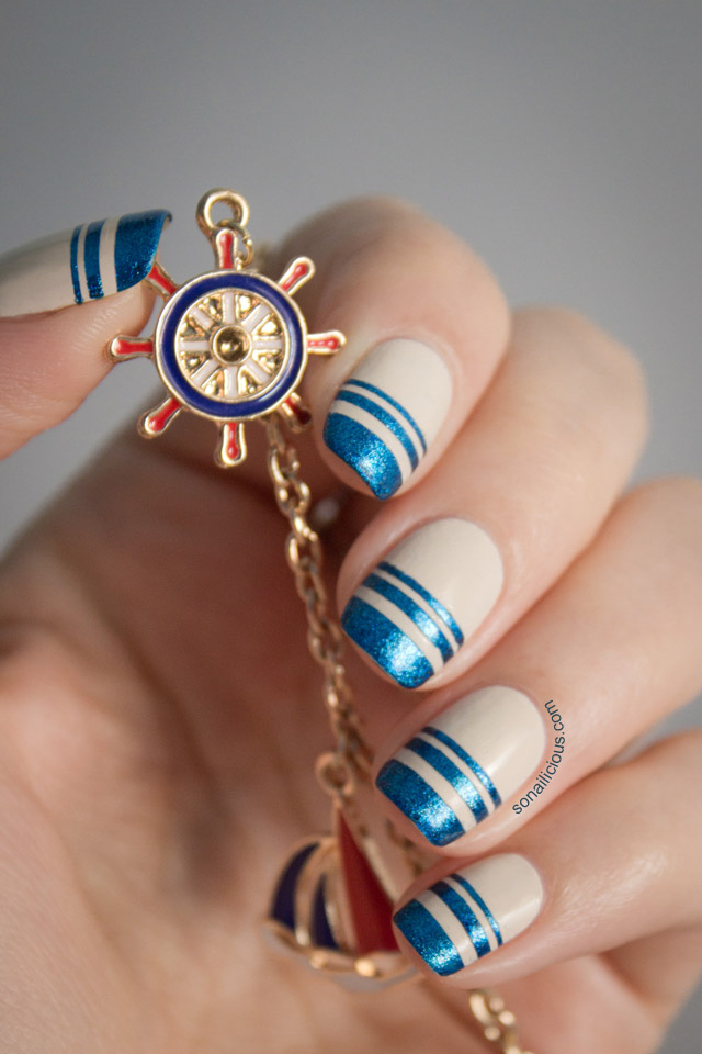 easy nautical nail art