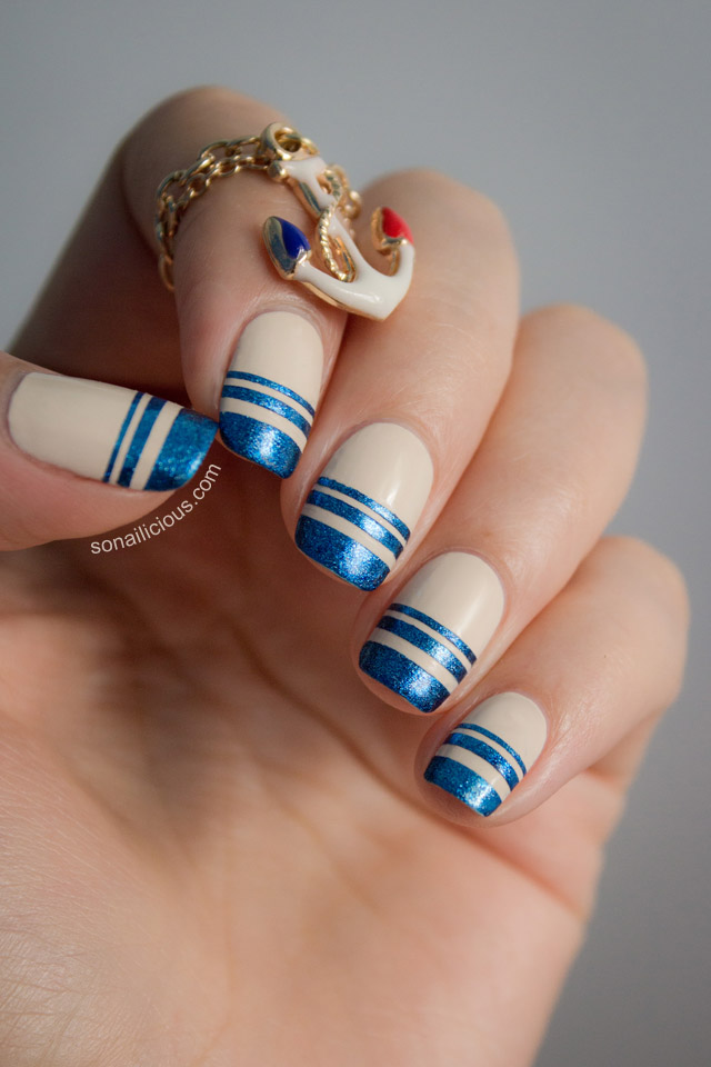 nautical nails tutorial