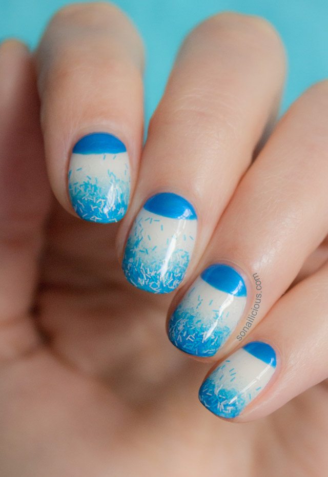 blue nails, half moon nails