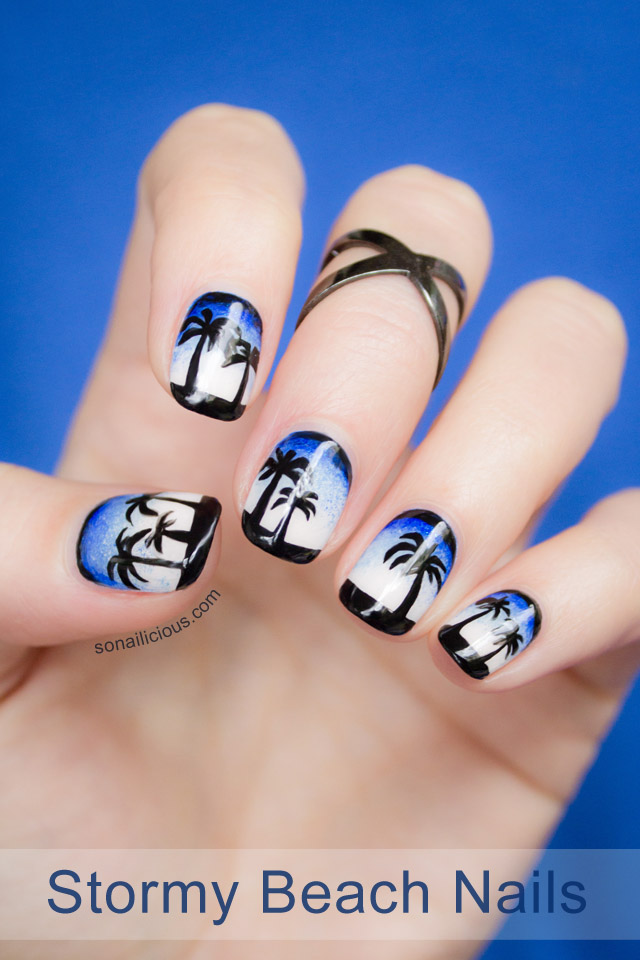 beach nail art, palms nails