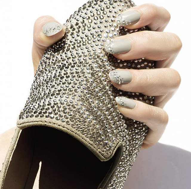 grey studded nails