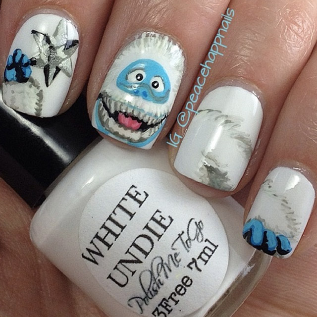 Abominable snowman by @peacehappnails