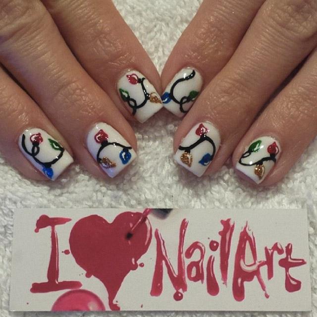 Christmas lights nails by @i-heart-nailart