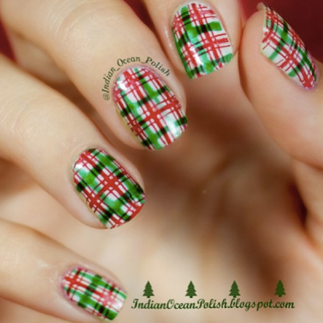 Christmas plaid nails by @indian_ocean_polish